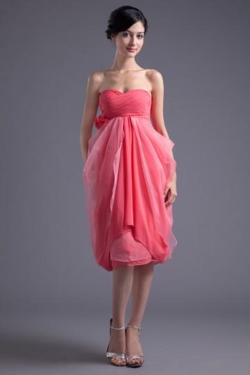 Vestido de madrinha em Chiffon rosa decote em coração