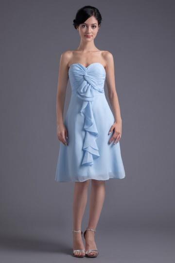 Vestido de madrinha em Chiffon azul decote em coração pregueado badado