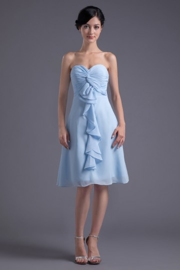 Trägerlos blau knielang Abendkleid aus Chiffon Persun
