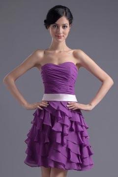 Robe demoiselle d'honneur en mousseline violet sans manche Ruchées froufrou