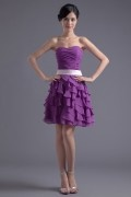 Strapless Ruching Ruffle A line Magnificent Chiffon Formal Bridesmaid Dress