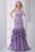Elegant One Shoulder Ruched Appliques Organza Mermaid Prom Dress