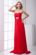 Noble Strapless Backless Ruched Beaded Brooch Chiffon Formal Dress