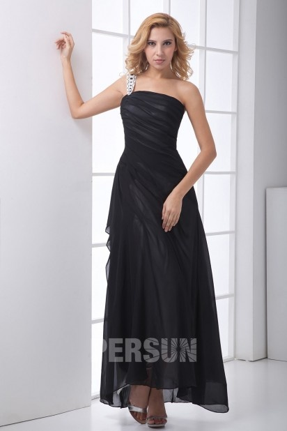 Simple One Shoulder Ruched Ankle Length Black Chiffon Evening Dress