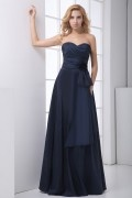 Elegant Sweetheart Strapless Handmade Flower Taffeta Bridesmaid Dress