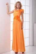Shining V neck Ruched Handmade Flowers Chiffon Formal Bridesmaid Dress