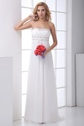 Elegant Strapless Ruched Beaded Chiffon Bridesmaid Dress