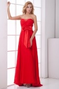 Strapless Ruched Bowknot Chiffon Evening Dress