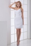 Elegant Ein Schulter A-Linie weiß Chiffon Brautkleider