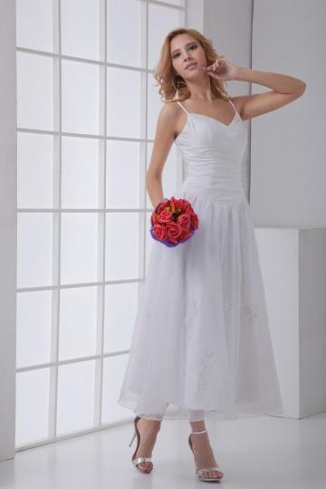 Günstig Weißes Kleid mit drapierten Hosenträgern ...