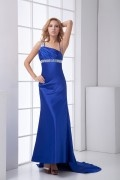 Noble Backless Spaghetti Straps Diamonds Mermaid Elastic Woven Satin Prom Dress