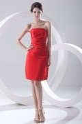 Plain Strapless Ruched Knee Length Satin Formal Bridesmaid Dress