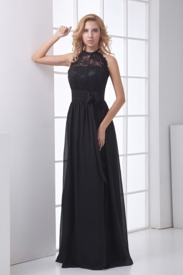 Dressesmall Delicate Halter Backless Ruched Lace Chiffon Evening Dress