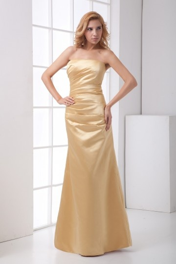 Plain Strapless Ruched Satin Mermaid Bridesmaid Dress