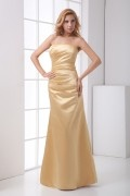 Plain Strapless Ruched Satin Mermaid Formal Bridesmaid Dress