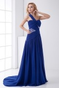 Pretty Backless One Shoulder Diamonds Split Blue Chiffon Formal Dress