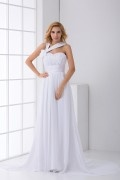 Right Side V neck Handmade Flower Ruched Chiffon Bridesmaid Dress