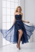 Flowing Sweetheart Strapless Ruched High low Split Chiffon Cocktail Dress