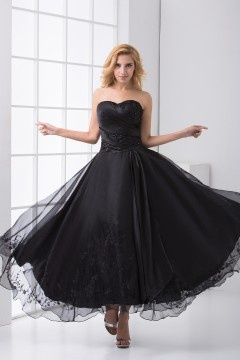 Embroidery Strapless Ankle Length Appliques Organza Formal Dress