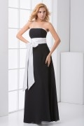 Simple Strapless Bowknot Black and White Chiffon Formal Bridesmaid Dress