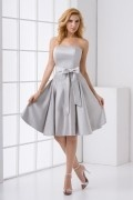 Pretty Strapless Ruched Bowknot Satin Knee Length Formal Bridesmaid Dress