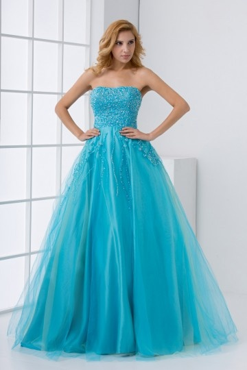 Dressesmall Princess Strapless Beaded Tulle Blue Formal Dress