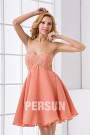 Sweetheart Embroidery Lace Up Chiffon Short Bridesmaid Dress