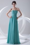 Simple Strapless Pleated Chiffon Mint Formal Bridesmaid Dress