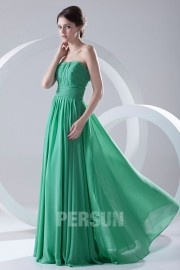 Simple Strapless Pleated Chiffon Mint Bridesmaid Dress