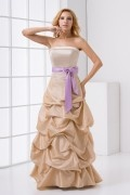 Strapless Pick Up Skirt Bowknot Taffeta Formal Bridesmaid Dress
