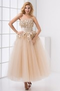 Extravagant Strapless Handmade Appliques Tulle Ankle Length Wedding Dress