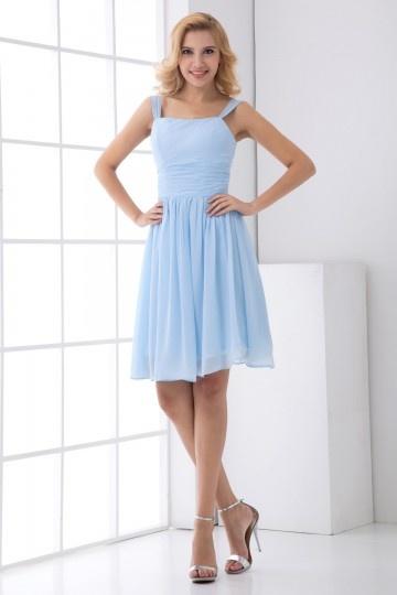 Straps Square Neck Pleated Chiffon Knee Length Bridesmaid Dress