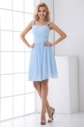 Straps Square Neck Pleated Chiffon Knee Length Formal Bridesmaid Dress