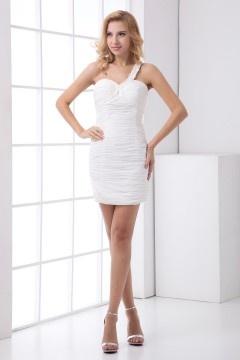 Simple One Shoulder Pleats Sheath Chiffon Short White Prom Dress