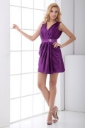 Straps V Neck Ruched Short Elastic Woven Satin Cocktail Dress