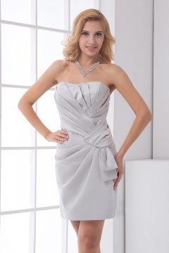 Chic Grey Ruched Strapless Satin Short Cocktail Dress
