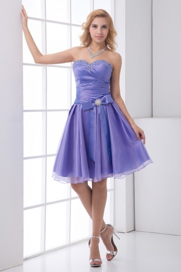 Dressesmall Sweetheart Strapless Beaded Bow Organza Knee Length Cocktail Dress