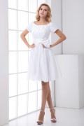 Schlichtes A-Linie weißes Knielanges Empire Brautkleid