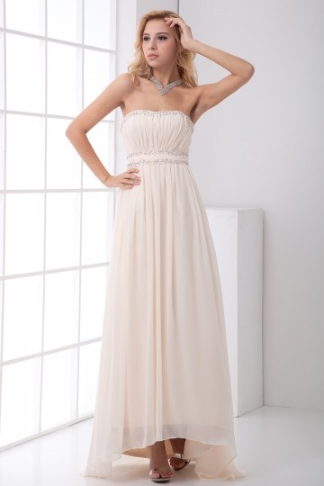 Dressesmall Elegant Strapless Beaded Pleated Chiffon Formal Dress