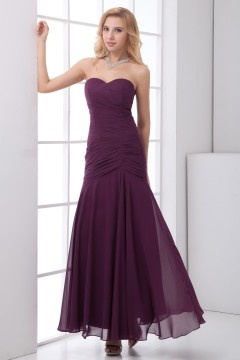Sexy Sweetheart Trumpet Chiffon Long Purple Bridesmaid Dress