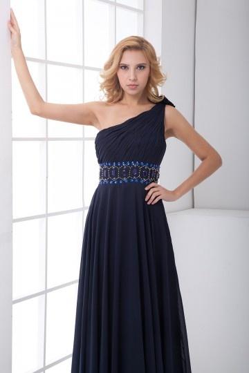 Schlichtes Blau Ein Schulter Empire Perle Abendkleid aus ...