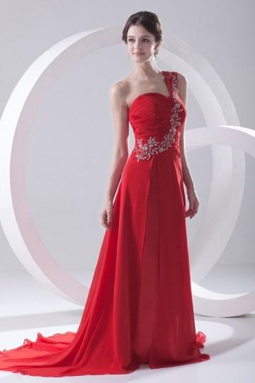 Vestido vermelho de noite longo um ombro pregueado decorado de lantejoula