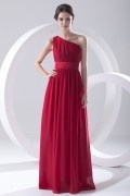 Simple One Shoulder Pleated Chiffon Red Formal Bridesmaid Dress