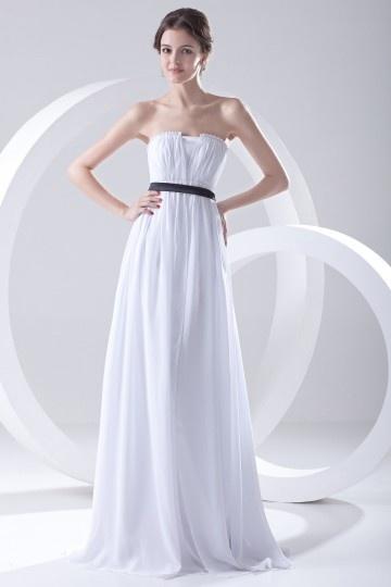 Vestido branco simple de madrinha bustiê Império