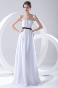 Plain Strapless Pleated Sash Empire White Chiffon Formal Bridesmaid Dress