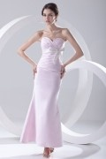 Strapless Bowtie Pink Mermaid Satin Ankle Length Formal Bridesmaid Dress
