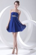 Sexy Jeweled Blue Chiffon Strapless Short Cocktail Dress