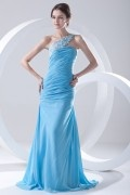 Gorgeous Blue Chiffon One Shoulder Fishtail Appliques Long Formal Bridesmaid Dress