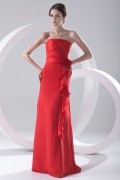 Strapless Ruffles Flowers Red Chiffon Formal Bridesmaid Dress