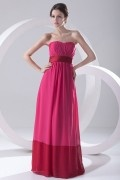 Contrast Red Strapless Pleated Empire Chiffon Formal Bridesmaid Dress